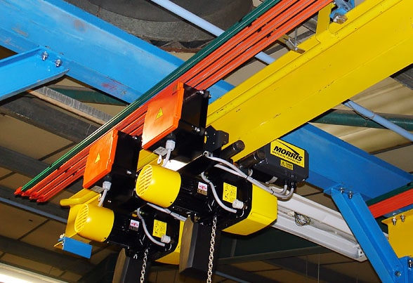 Powered electric hoist and bus bar system