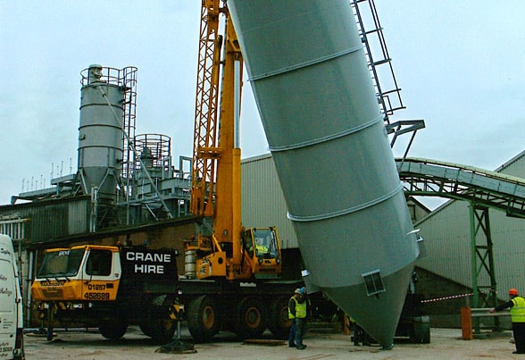 80t capacity cement silo during installation