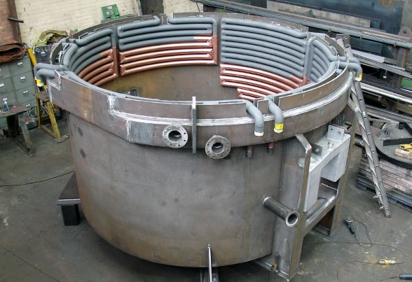 Electric arc furnace body in workshop